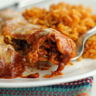 Beef Enchiladas with Chipotle-Pasilla Gravy